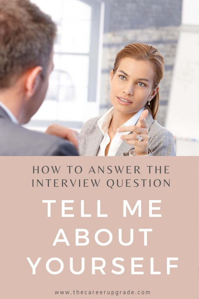"""woman answering the job interview question """"tell me about yourself"""" with confidence"""