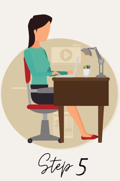 illustration of businesswoman doing job interview preparations