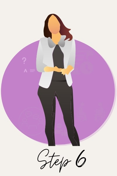illustration of business woman answering interview questions