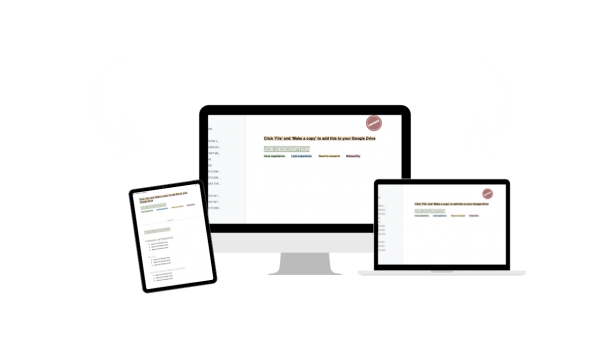 job research templates on laptop and ipad
